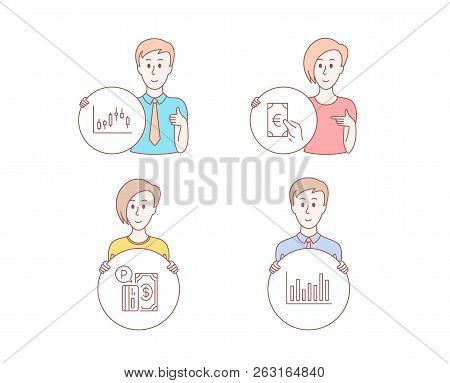 People Hand Drawn Style. Set Of Candlestick Graph, Finance And Parking Payment Icons. Bar Diagram Si