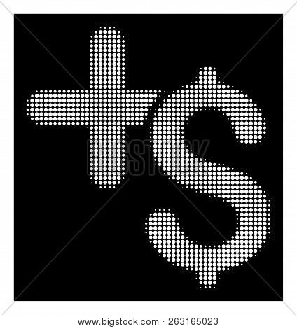 Halftone Pixel Pay Medicine Icon. White Pictogram With Pixel Geometric Structure On A Black Backgrou