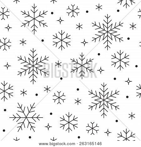 Seamless Pattern With Black Snowflakes On White Background. Flat Line Snowing Icons, Cute Snow Flake