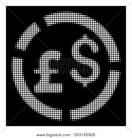 Halftone Pixel Pound And Dollar Currency Diagram Icon. White Pictogram With Pixel Geometric Pattern