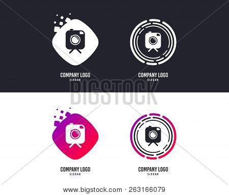 Logotype Concept. Hipster Photo Camera Sign Icon. Retro Camera On Tripod Symbol. Logo Design. Colorf