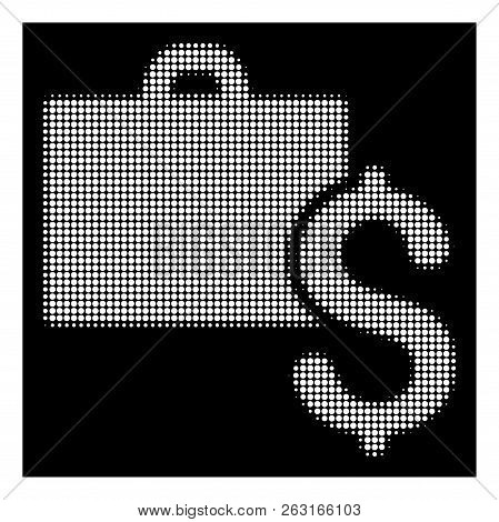 Halftone Pixelated Accounting Icon. White Pictogram With Pixelated Geometric Structure On A Black Ba
