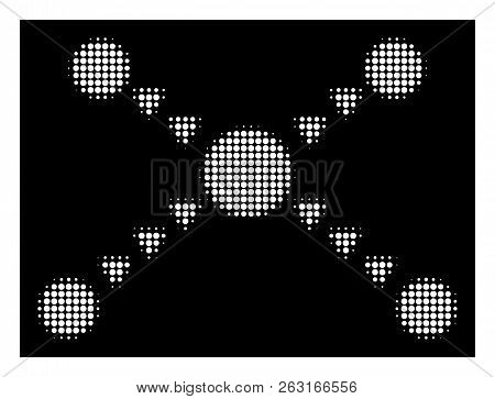 Halftone Dotted Links Icon. White Pictogram With Dotted Geometric Pattern On A Black Background. Vec