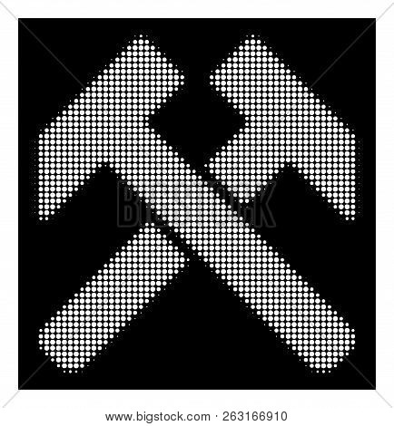 Halftone Dotted Hammers Icon. White Pictogram With Dotted Geometric Pattern On A Black Background. V