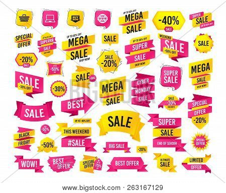 Sales Banner. Super Mega Discounts. Online Shopping Icons. Notebook Pc, Shopping Cart, Buy Now Arrow
