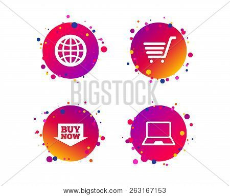 Online Shopping Icons. Notebook Pc, Shopping Cart, Buy Now Arrow And Internet Signs. Www Globe Symbo