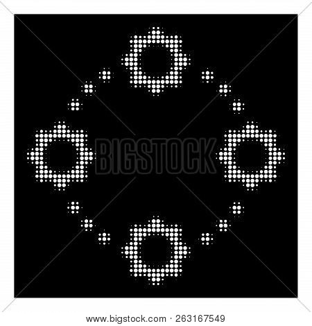 Halftone Pixel Gear Virtual Connection Icon. White Pictogram With Dotted Geometric Structure On A Bl