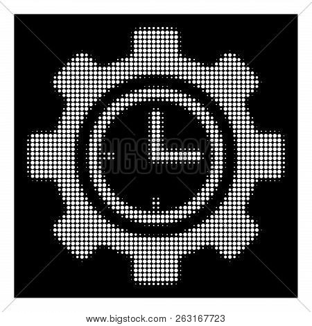 Halftone pixel time setup gear icon. White pictogram with pixel geometric structure on a black background. Vector time setup gear icon done of round pixels. poster