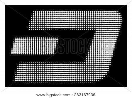 Halftone Pixelated Dash Currency Icon. White Pictogram With Pixelated Geometric Structure On A Black