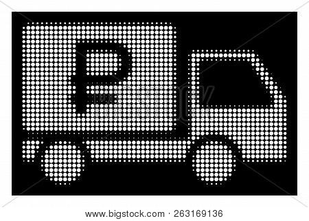 Halftone pixelated rouble shipment icon. White pictogram with pixelated geometric structure on a black background. Vector rouble shipment icon created of round pixels. poster