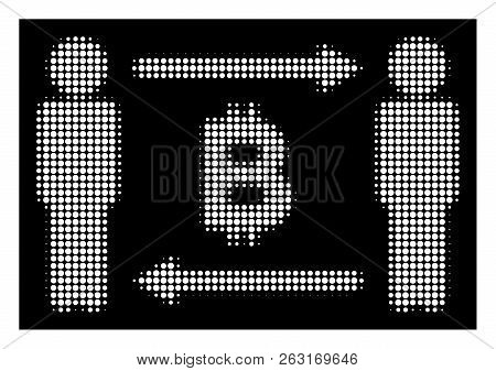 Halftone Pixel People Exchange Bitcoin Icon. White Pictogram With Pixel Geometric Structure On A Bla