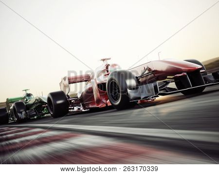 Motor Sports Competitive Team Racing. Fast Moving Generic Race Cars Racing Down The Track . 3d Rende