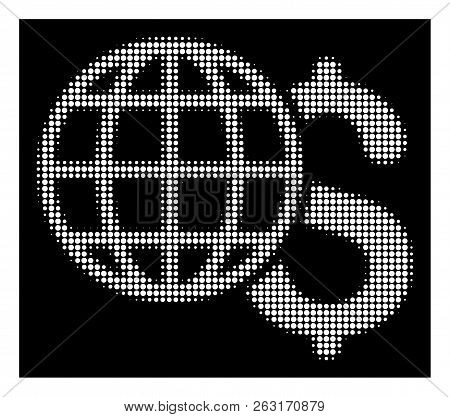 Halftone Pixelated Global Finances Icon. White Pictogram With Pixelated Geometric Structure On A Bla