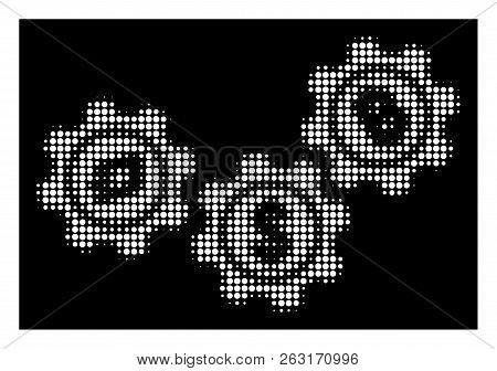 Halftone Pixelated Cryptocurrency Process Gears Icon. White Pictogram With Pixelated Geometric Struc