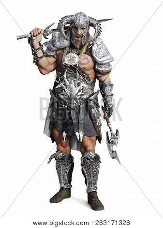 Standing Fierce Armored Barbarian Warrior Posing On An Isolated White Background. 3d Rendering Illus