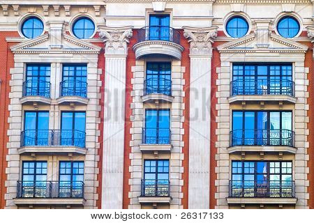 Vivid white and red front of the office building in the centre of Moscow