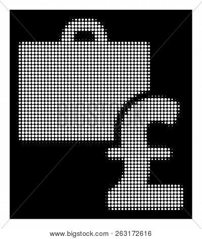 Halftone Pixelated Pound Accounting Icon. White Pictogram With Pixelated Geometric Pattern On A Blac