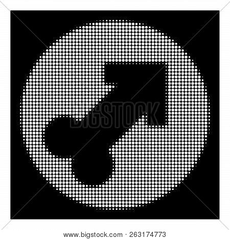 Halftone Pixelated Erection Icon. White Pictogram With Pixelated Geometric Structure On A Black Back