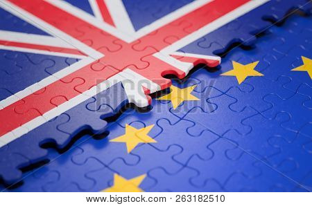3d Illustration. Flag Of The United Kingdom And The European Union In The Form Of Puzzle Pieces In C