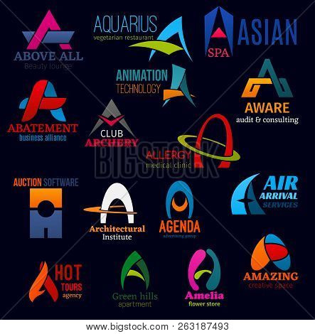 Letter A icons, business idenity design. Above all and aquarius, abatement and animation, archery and allergy, aware and auction, architectural and agenda, air and agency, apartment and amelia vector poster