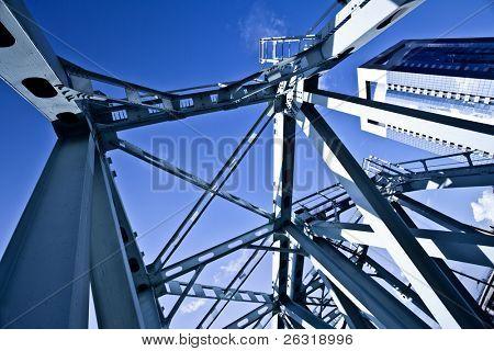 Blue metal suspended bridge construction