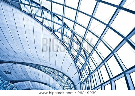 Abstract blue wall interior background, horizontal right composition