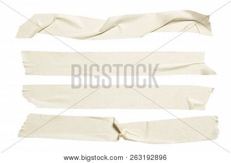 Set Of White Scotch Tapes On Gray Background. Torn Horizontal And Different Size White Sticky Tape,