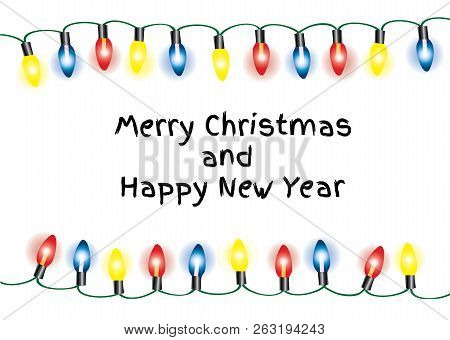 Vector Illustration Of Christmas Background With Lights. Holiday Background.