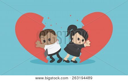 Vector Illustration African Business  Break Up Relationship Broken Heart Couple Man Woman Fight