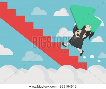 Business Women Holding A Green Arrow Up The Red Stairs Through The Clouds, Green Arrow Represents Th