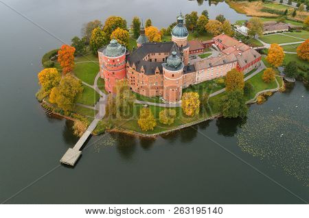 Aerial View During The Autumn Season Of The Swedish 16th Century Gripsholm Castle Located In Provinc