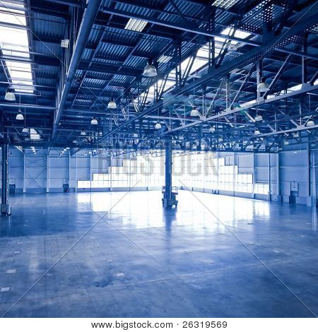 Empty corner hall interior