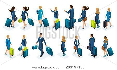 Isometry Large Set Of Businessmen And Business Lady On A Business Trip, With Luggage At The Airport,