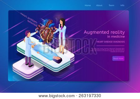 Augmented Reality In Medicine Heart Disease Diagnosis Isometric Web Banner With Lying Patient And Do