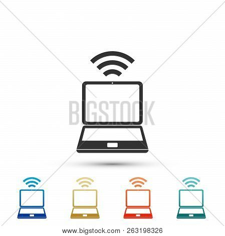 Laptop And Wireless Icon Isolated On White Background. Wireless Technology, Wi-fi Connection, Wirele