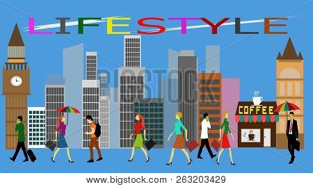 The Lifestyle Of People In The City Is Diverse Building Background,font Lifestyle