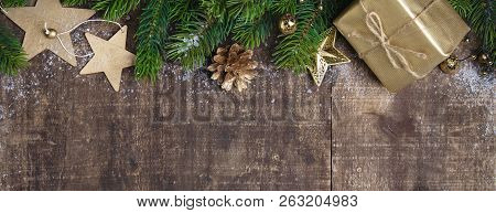 Christmas Theme Background In Vintage Tone. Rustic Wood Background For Christmas With Copy Space For