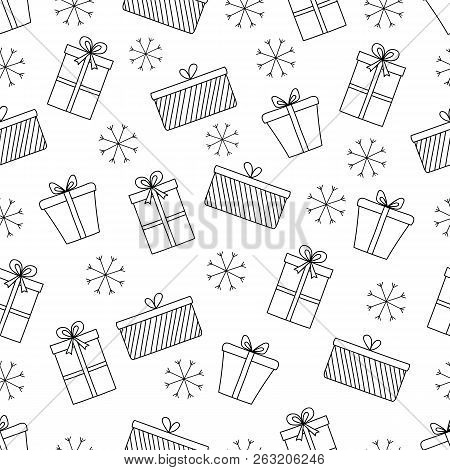 Pattern With Christmas Decorations For Your Design.hand Drawn Merry Christmas And Happy New Year Doo
