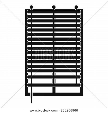 Window With Wooden Jalousie Icon In Simple Style Isolated Illustration