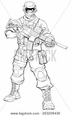 Line Art Illustration Of Masked Soldier On Patrol, Holding Machine Gun.
