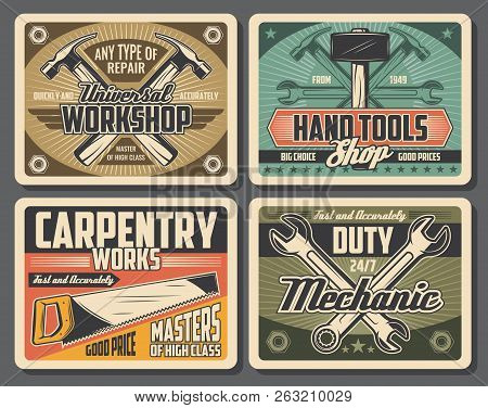 Workshop And Carpentry Tools, Retro Design. Hammer And Wrench, Spanner And Saw Vector Tools. Constru