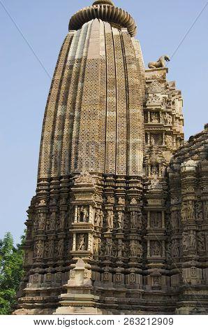 Vamana Temple, Shikara - Top View, Eastern Group, Khajuraho, Madhya Pradesh, India, Unesco World Her