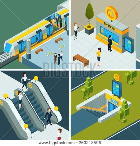 Public Subway Isometric. Metro Railway Escalator, Train And Subway Gates People On Railway Station V