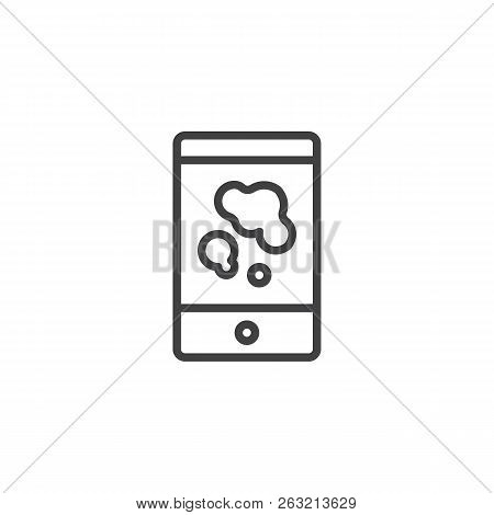 Smartphone With Splattered Blood Stains Outline Icon. Linear Style Sign For Mobile Concept And Web D