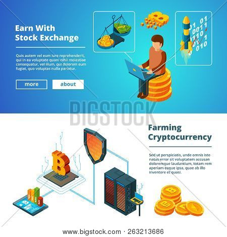 Cryptocurrency Business Banners. Global Ico Blockchain Crypto Digital Money Company Coins Mining Vec