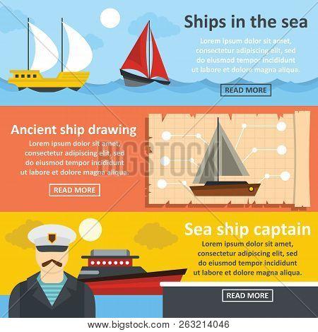 Nautical Ship Banner Horizontal Concept Set. Flat Illustration Of 3 Nautical Ship Banner Horizontal