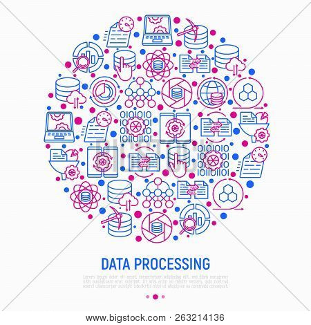 Data Processing Concept In Circle With Thin Line Icons: Data Science, Filtering, Deep Learning, Mobi
