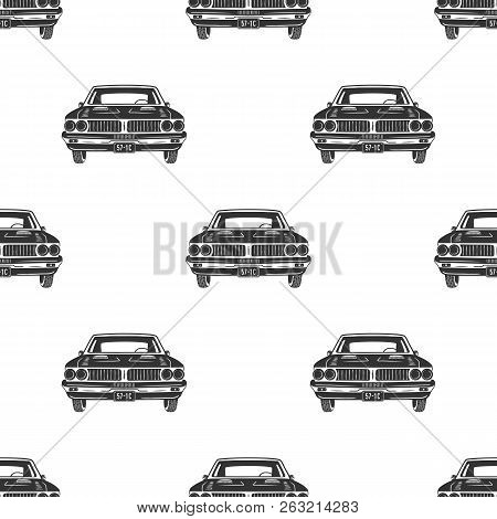 Retro Auto Seamless. Vintage Car Pattern Background. Automotive Theme Wallpaper In Silhouette Style.