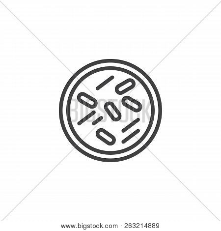 Bacteria In Petri Dish Outline Icon. Linear Style Sign For Mobile Concept And Web Design. Forensics