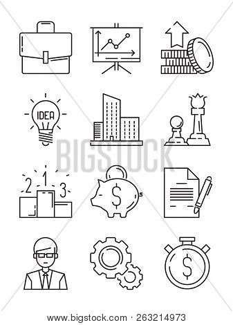 Business Line Icons. Money Finance Starting Startup Strategy Team Vector Symbols Isolated. Illustrat